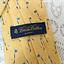 Brooks Brothers Italy Yellow 100% Silk Men's Tie Golf Flagsticks