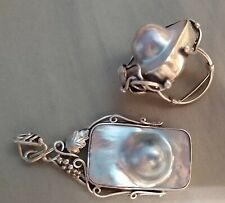 Handmade silver and blister pearl ring & pendant-grapevine detail