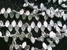 VTG 50 SILVER LEAVES special purchase! GLASS BEAD DROP 12X7mm 060116q