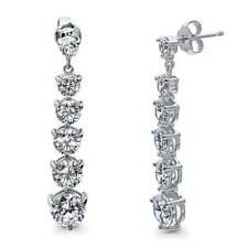 BERRICLE Sterling Silver Cubic Zirconia Graduated Wedding Dangle Drop Earrings