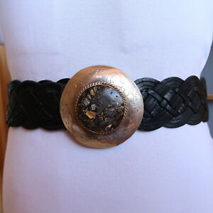 Size M/L New Moroccan Wide Woven Black Leather Belt with silver circle buckle