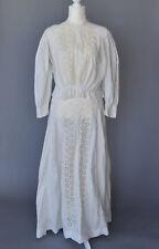Antique Gibson Girl 2 Piece Embroidered Cotton Dress Circa 1905