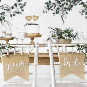 Bride & Groom Rustic Hessian Chair Signs Wedding Decorations
