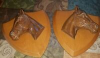 "HANDSOME Vintage Pair Of Wooden Wall Plaques~""In Relief"" HORSE Heads~SYROCO WOOD"