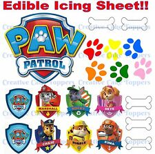 PAW PATROL LOGO BADGES MARSHALL CHASE RUBBLE SKY CAKE TOPPERS EDIBLE ICING SHEET