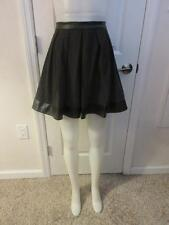 NEW WOMENS W118 BY WALTER BAKER BROWN/BLACK PLEATED SKIRT W FAUX LEATHER TRIM XS