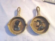 2 Small Cast Iron Fry Pans with Amish Faces Molded in surface - Slt