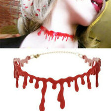 Gothic Punk Blood Red Stitch Choker Necklace Halloween Party Ball Rock Deathrock