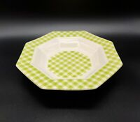 1 Independence Ironstone Octagonal Limerick Green Plaid Gingham Cereal Soup Bowl