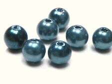 100 X 8mm Blue Mix Colour Acrylic / Plastic Round Faux Pearl Bead Craft J184