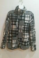 Ralph Lauren  Houndstooth fleece  Plaid Jacket Full Zip Black & White Sz-Large