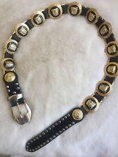 Gianni Versace Vintage Gold Medusa Head Black Leather Belt