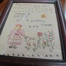 Primitive Original  Sampler Frame ABC 1877 Ella Fitts Flower Sun Flowers Fannie?
