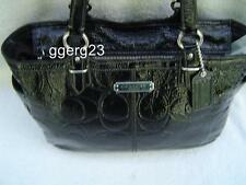 AUTHENTIC COACH SIGNATURE EMBOSSED BLACK PATENT LEATHER TOTE #19462  GUC