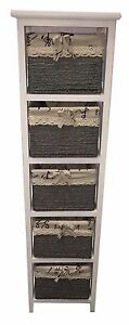NEW Wooden Slim 5-Drawer Bathroom Cabinet Tall Unit with Maize Storage Baskets