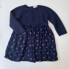 Next Baby Girls 9-12 Months Navy Blue Knit Floral Contrast Dress