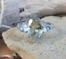New 3.5ctw Green Amethyst Blue Topaz Diamond Ring Sterling Silver Size 8 #817