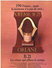PUBLICITE ADVERTISING 104 1968 ORLANE B21 la crème qui efface le temps