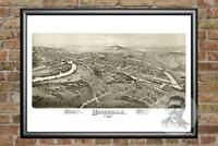 Old Map of Honesdale, PA from 1890 - Vintage Pennsylvania Art, Historic Decor