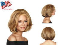 Womens Hair Wig Fashion Short Light brown Girl's Hair Wig Cosplay Party Full Wig