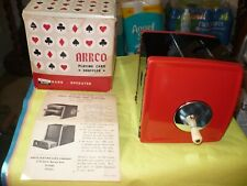 Vintage Arrco Playing Card Shuffler Red/Black Hand Crank With Box & Instructions
