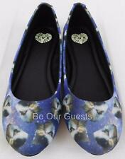 TUK Cats Head in Space Flats Women Shoes Punk Casual Blue New Size 5 T.U.K.