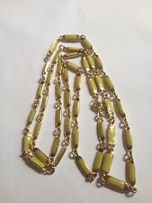 "JCrew Green Enamel Goldtone 45"" Necklace (G763)"