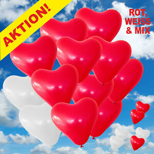 Herz Luftballons 30 cm rot weiß Premium Herzballons Helium Hochzeit Herzen Bio