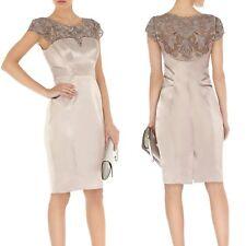 KAREN MILLEN  Mocha Satin Lace Corset Cocktail Wedding Races Wiggle Dress 10 UK