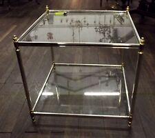 Tisch, Beistelltisch, Metall, versilbert, Glas
