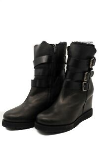 Pegia Leather Black Boots with Buckles and Pure Genuine Wool Lining