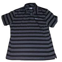 Under Armour Black Gray Golf Polo Shirt Mens Size 2XL XXL Striped $64.99 NWOT