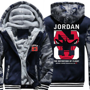 Mens Fur Fleece Hooded Michael Jordan Bulls Coat Hoodie Jacket Overcoat Outwear