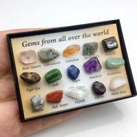 15stk Irregulär Tumbled Mini Erze Stein Kristall Natürlich Mineralien Ornament