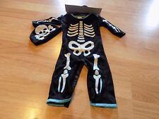Size 6-12 Months Halloween Costume Skeleton Black White Glows in Dark New NWT