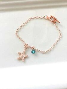 Friendship Charms Bracelet, Rose Gold Plated Starfish Charm Bracelet