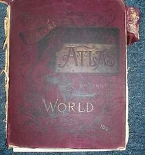 1891 CRAM`S ATLAS UNITED STATES,WORLD CITIES,YELLOWSTONE, MANY MAPS FOR FRAMING!