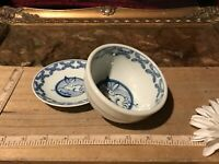 Asian Porcelain Blue & White Rabbit Floral Rice & Dipping Bowl Marked