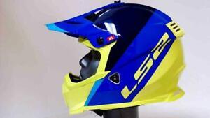 LS2 Gate Launch Motocross Helmet Adult XL Blue Hi-Viz Yellow OffRoad MX ATV SXS