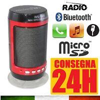 CASSA PORTATILE CON RADIO FM SD USB BLUETOOTH MP3 SMARTPHONE SPEAKER LED WS-1806