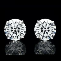 8mm Created Diamond Round Stud Earrings Solitaire 925 Sterling SIlver 4.00tcw