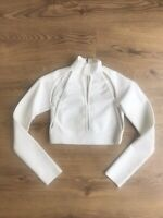 BRAND NEW WITHOUT TAGS WHITE CUT OUT HIGH NECK LONG SLEEVE BODYCON CROP TOP