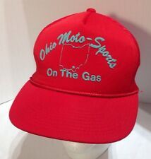 Vintage Ohio Moto-Sports On The Gas Rope Cord Mesh Back Red Snapback Hat