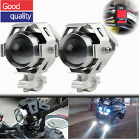 2X 125W U5 Motorcycle Motorbike Headlight LED Fog Spot Lights & Switch Silver