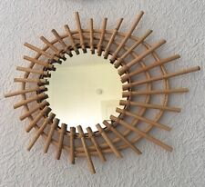 Joli miroir forme soleil ovale en rotin style vintage années 50  60