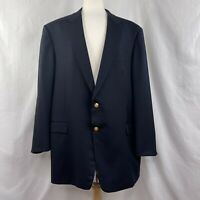 Hickey Freeman Navy Blue Wool Cashmere Blazer Sport Coat 52XLG Gold Buttons