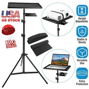Projector Laptop Tripod Stand W/ Tray Laptop Camera Adjustable Home Office Stand