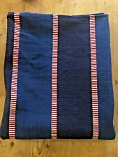 Vintage Upholstery Fabric Blue with Red and White Stripes 1.4M