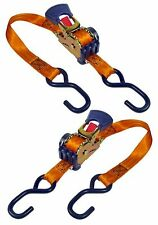 Ratchet Tie Down Strap Pair Retractable Anchor Transom Trailer Boat Hook 6' feet