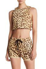 $262 NWT One Teaspoon Sz S Soft Leather Jackson Cheetah Print Drawstring Shorts